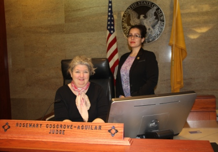 Judge Rosemary Cosgrove-Aguilar of Bernalillo County Metropolitan Court, with Probation Officer Nicole Morgan at right, has volunteered to preside over Albuquerque's new Animal Welfare Court.